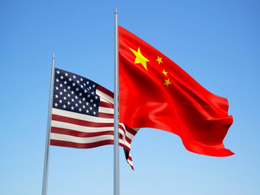 USA and China flags. 3d illustration