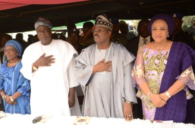 from right, Mrs. Florence, her husband, Governor Abiola Ajimobi, his deputy, Chief Moses Alake and his wife, Mrs. Janet