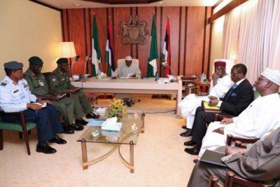 Buhari-Meets-Security-Chiefs-at-the-Presidential-Villa