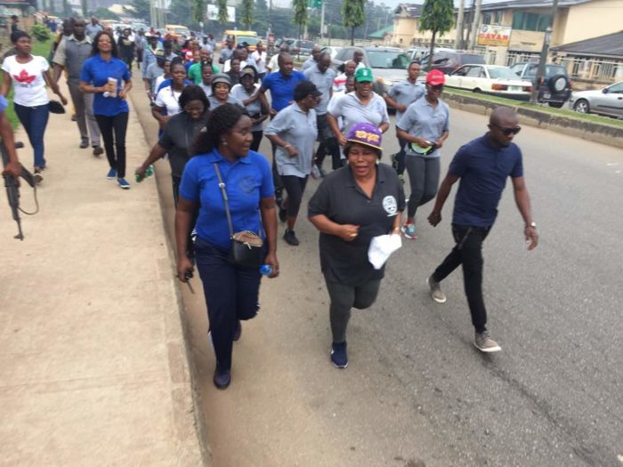 Justice (Mrs) Ikponmwen (in hat) leading the judiciary workers on charity walk