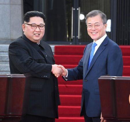 FILE PHOTO: North Korean leader Kim Jong Un and South Korean President Moon Jae-in
