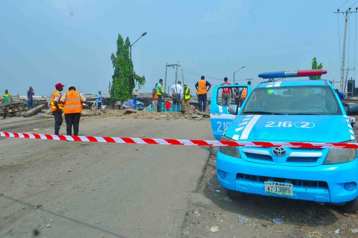 scene 1 Members of the FRSC at the scene of the accident