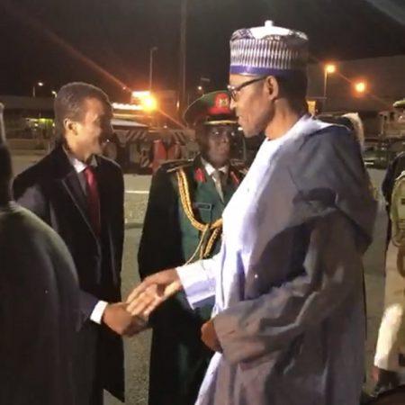 File: Buhari arriving London in April 2019