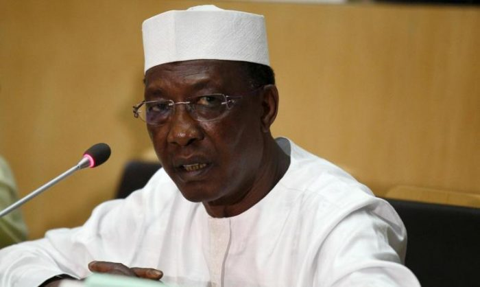 Chadian President Deby addresses a news conference at the close of the 26th Ordinary Session of the Assembly of the African Union at the AU headquarters in Ethiopia's capital Addis Ababa
