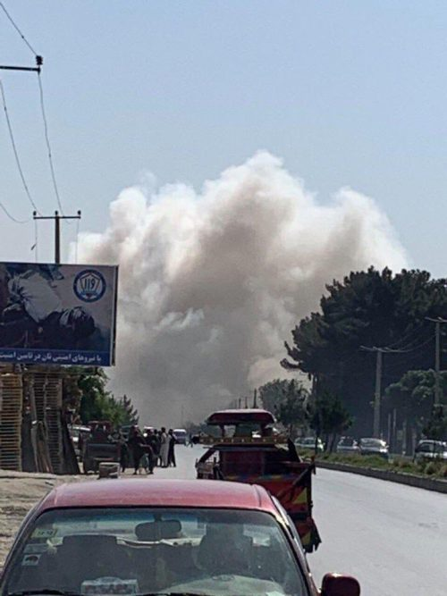 Taliban Bomb in Kabul targets US convoy sending white smoke in the air