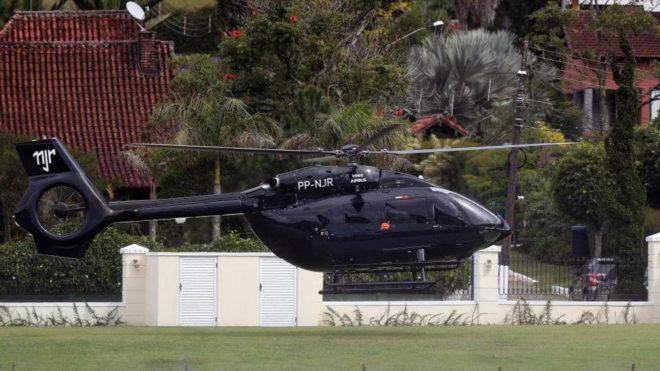 Neymar's Airbus helicopter landing at the training ground in Rio de Janeiro