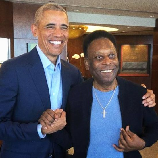 Obama and Pele in Sao Paulo. Photo credit Pele