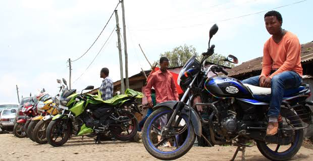 Motorcycle riders in Addis Ababa