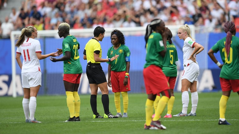 Cameroonian player discuss with Referee over VAR no-goal ruling