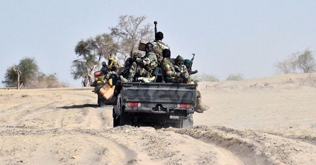 Chadian troops on a patrol in Lake Chad area