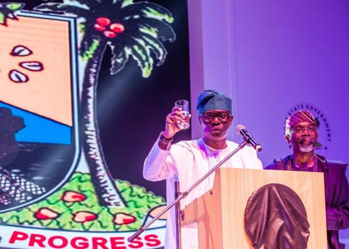 Governor Sanwo-OLu proposes a toast for Gbajabiamila