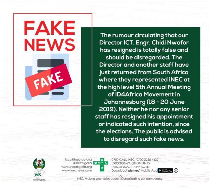 INEC tweet debunking the resignation of Chidi Okafor, head of ICT