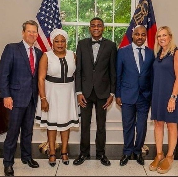 MC Oluomo, son Ololade and wife with Governor Brian Kemp and his wife Marty