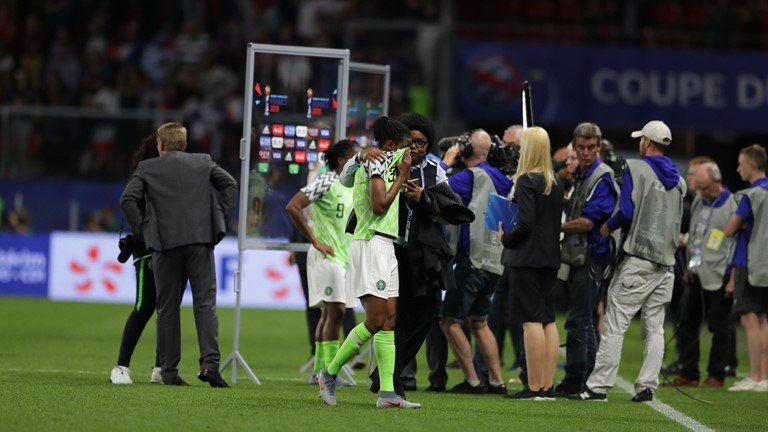 Ngozi Ebere in tears after being sent off