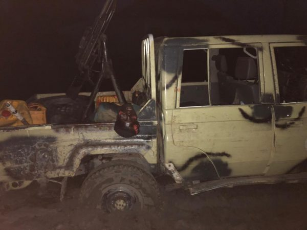 One of the Boko Haram gun trucks seized in Mafa