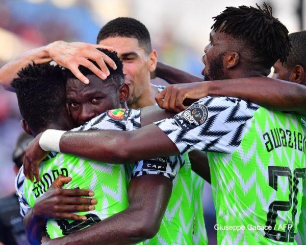 Super Eagles celebrate with Emeruo