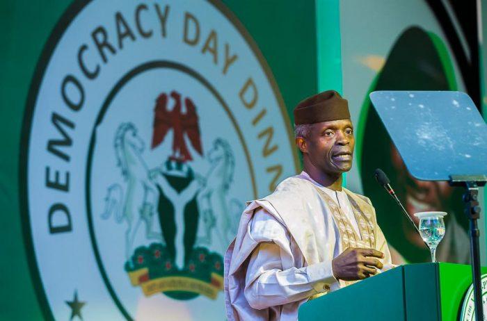 VP Yemi Osinbajo gives a toast for democarcy