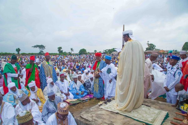 mussy Chief Imam of Agege, Hausa Community, Sherif Habeeb Abdulmajeed reciting the quran at the Muslim Prayer Ground in Ikeja, Lagos, earlier today