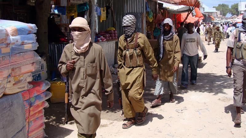 Al Shabaab fighters patrol a Somalian city in the past. Photo Al Jazeera
