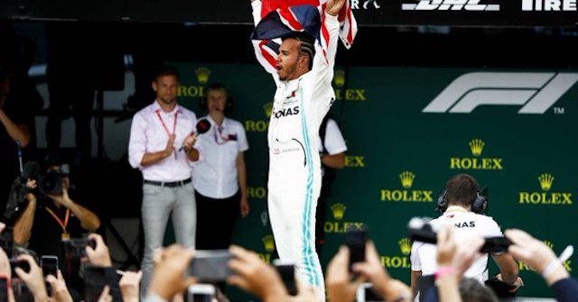 Lewis Hamilton after winning in Silverstone, England