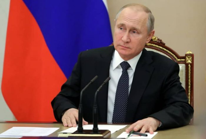 Russia's President Putin chairs a meeting with members of the Security Council in Moscow