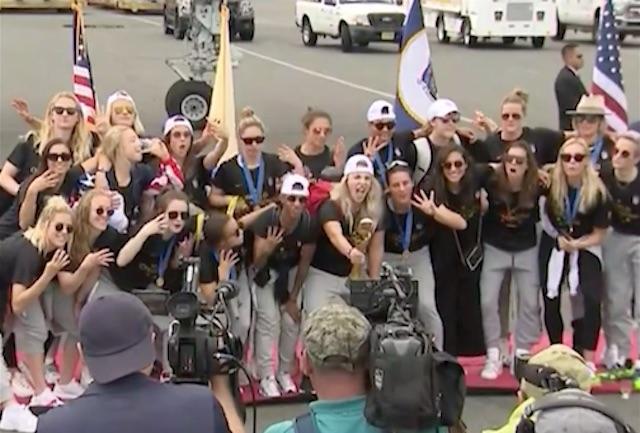 US Women's soccer team in Newark on Monday