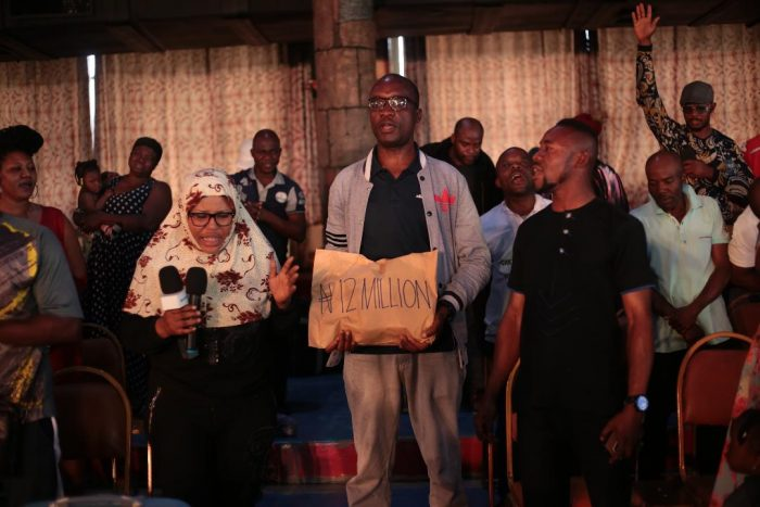 Some of the South Africa returnees at the Synagogue on Wednesday