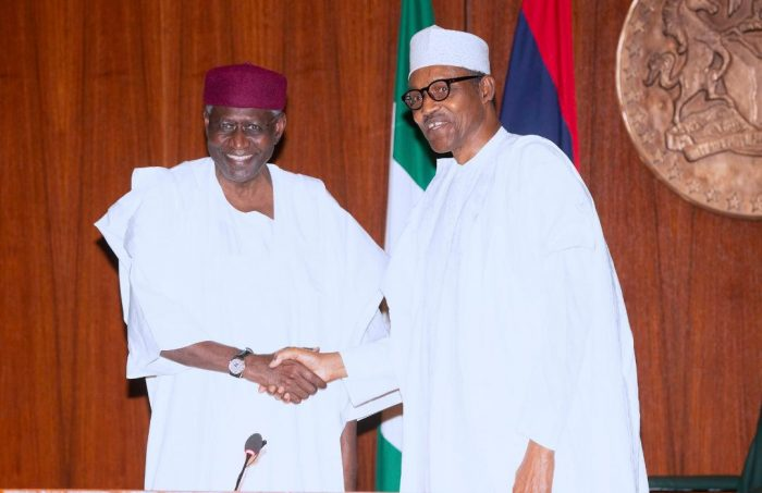 Buhari with Chief of staff Abba Kyari at the meeting with APC governors