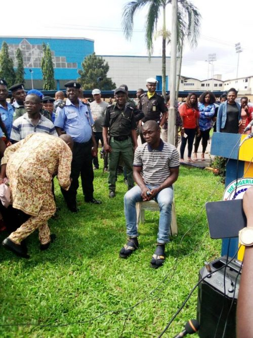Gracious David West at Rivers State Police Command before he was paraded at the Police
