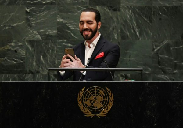President Nayib Bukele takes selfie before delivering his speech at UN General Assembly