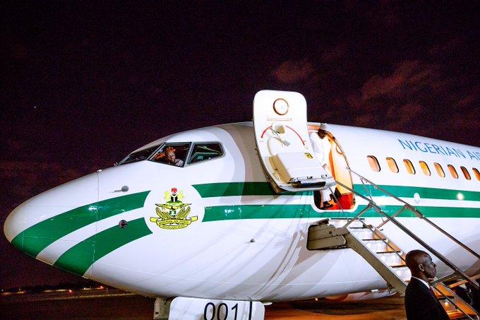 Buhari disembarks from his Nigerian Air Force plane 001