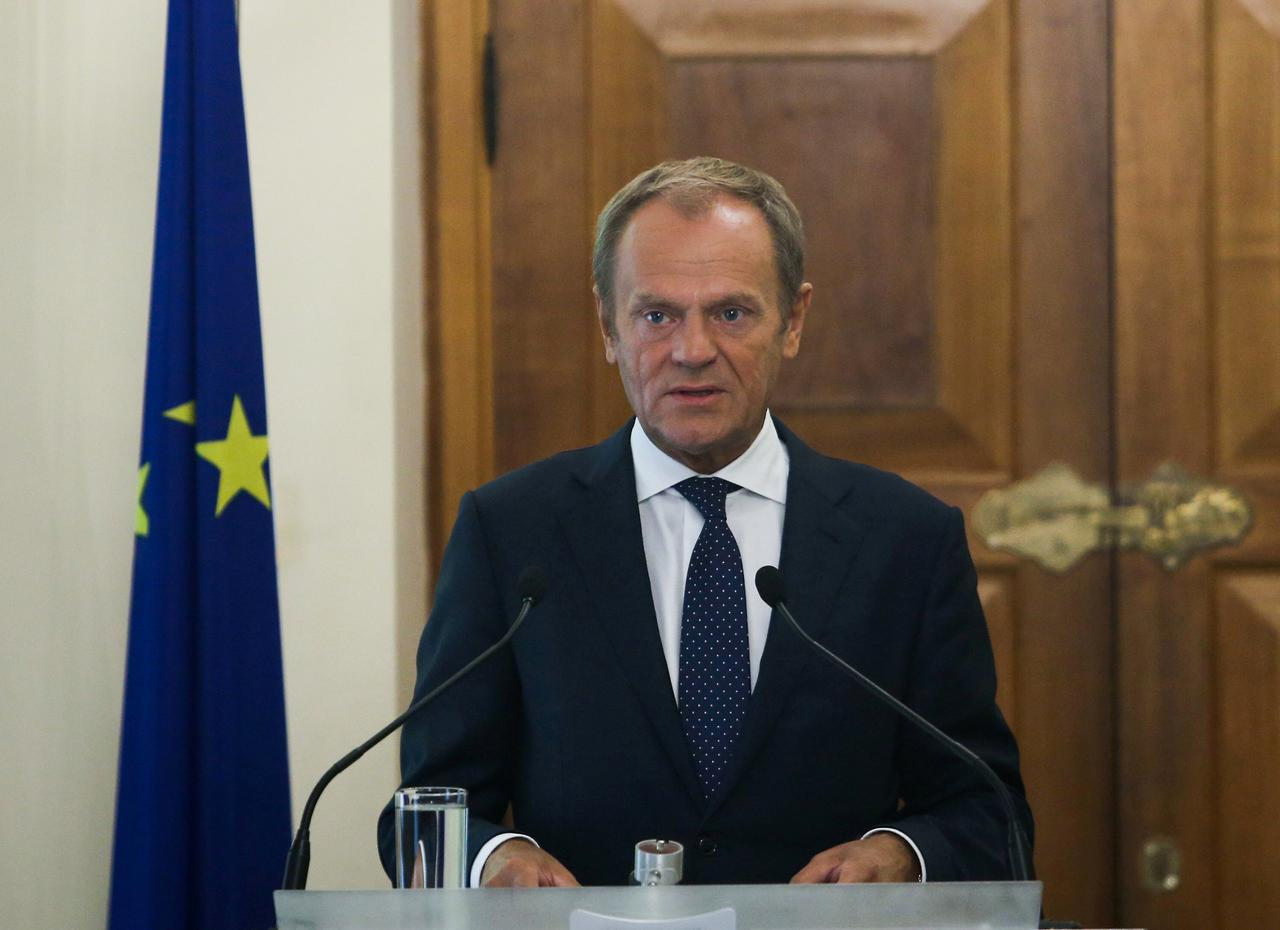 European Council, President Donald Tusk attends a news conference at the Presidential Palace in Nicosia, Cyprus October 11, 2019. REUTERS