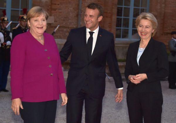 Merkel, Macron and Danish PM Mette Frederiksen