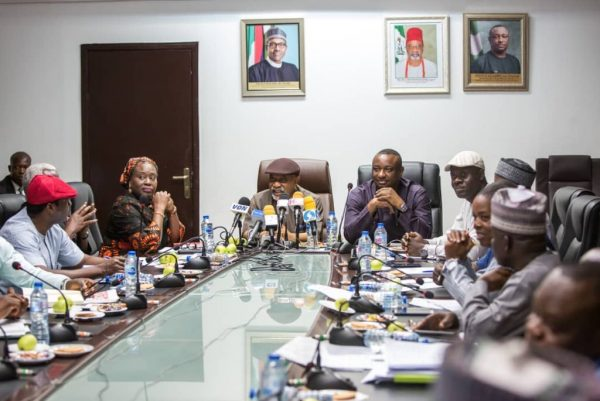 Ministers of Labour and Employment, Ngige and Keyamo at the meeting with labour leaders