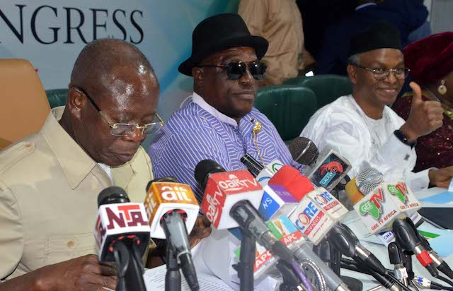 Oshiomhole, El-Rufai at the inauguration of the councils in Abuja on Friday