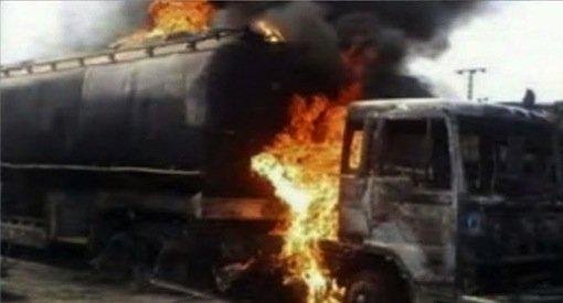 Petrol tanker burns