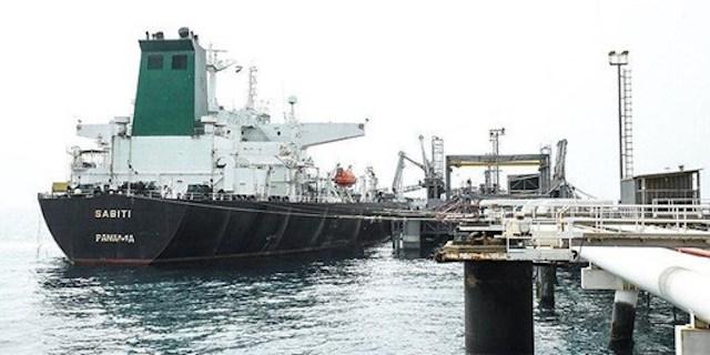 Sabiti, the Iranian oil vessel hit near Jeddah by missiles. Photo Fars News
