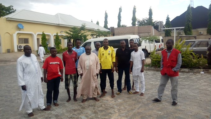 Some of the men arrested for adultertaing palm oil for sale