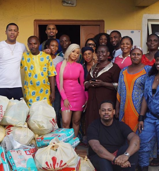 Cardi B, centre, at the orphanage