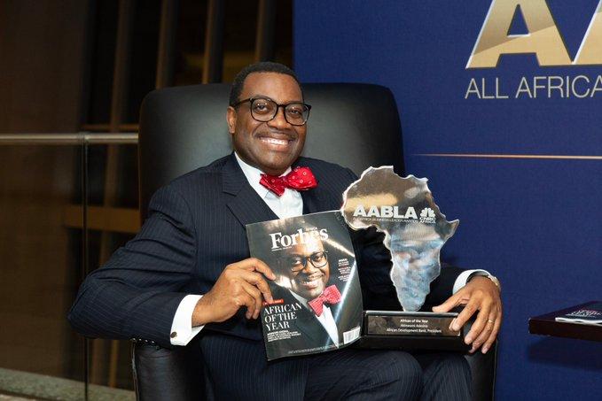 Akinwumi Adesina with Award in Sandton South Africa