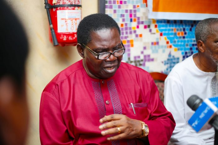 Chief Ebenezer Obey answering questions from journalists at the press briefing during the press briefing for Ariya Eko musical festival held at National Stadium, Surulere, Lagos, earlier today