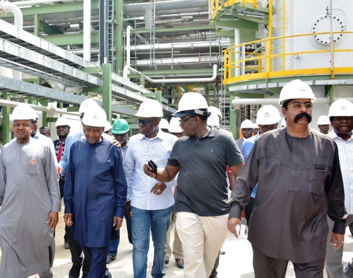 L-R: Kebbi State Governor, Alhaji Atiku Bagudu; President of Dangote Group, Alhaji Aliko Dangote; Lagos State Governor, Mr. Babajide Sanwo-Olu; Ekiti State Governor, Dr. Kayode Fayemi and Group Executive Director, Dangote Group, Mr. Devakumar Edwin during an inspection tour of the Dangote Refinery at the Lekki Free Trade Zone, Lagos, on Friday, December 20, 2019.
