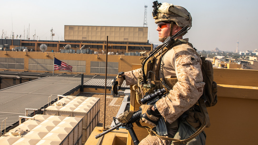 A US soldier at the US Embassy in Baghdad