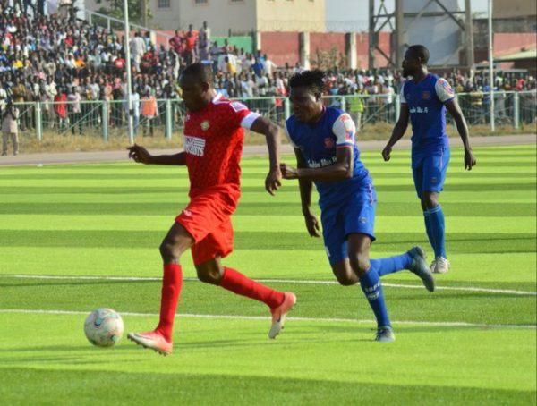 Action during Wikki Tourists v Sunshine stars match in Bauchi
