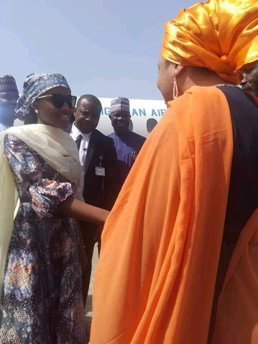 Hanan Buhari, left being received in Bauchi by wife of Governor Bala Muhammed