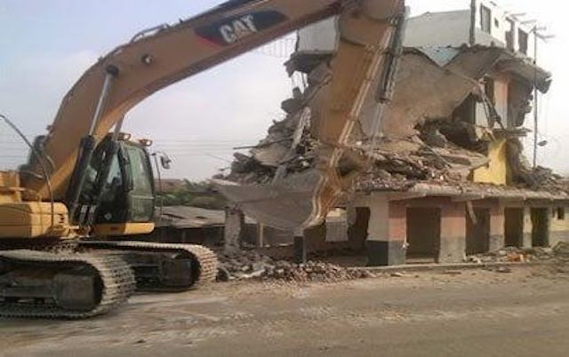 Just an illustration of demolition of illegal structures
