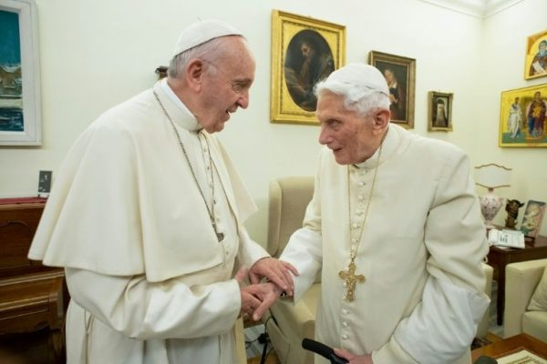 Pope Francis, left with pope Benedict
