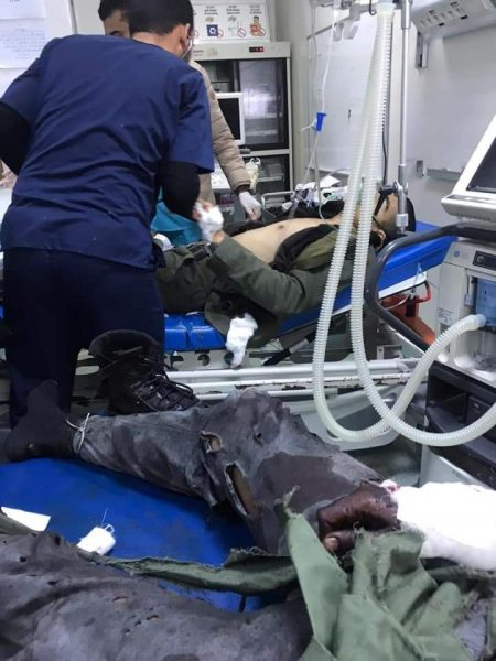 Some of the injured in Tripoli hospital on Saturday