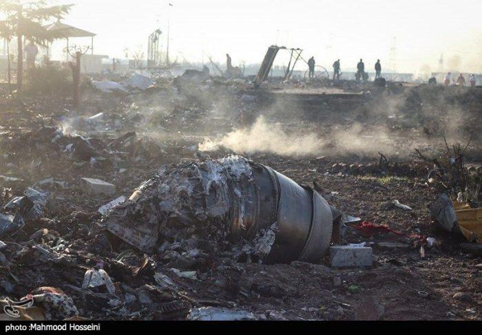 The remains of the Ukrainian Boeing 737-800. Photo Tasnim News agency