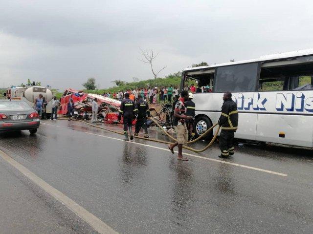 The two buses reportedly collided head on